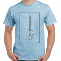 Men's T-Shirts Guitar Blueprints Men Funny Guitarist T-Shirt Electric Bass Acoustic Amp Rock