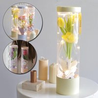 Packing Box Transparent Cylinder Shape Flower Wrapping Kraft Paper Handbag High Quality Party Supplies Festival Decoration Gift Wrap