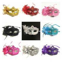 Partido de Halloween Venecia Máscaras de la pluma galvanoplastación de galvanales de alta gama Masquerade Máscara GWD8929