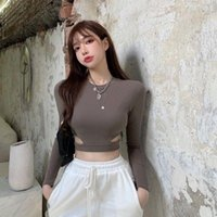 Women's T-Shirt Women O Neck Long Sleeves Sexy Bodycon Shirt Ribbed Cropped Solid Tops 2021 Autumn Black Casual Slim Basic Woman T Shirts Wh
