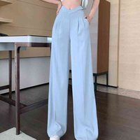 Women's Jeans Elegant casual female wide pants, high-waisted Korean fashions slim long solid designer clothes for summer 7WGE