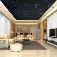 Fondos de pantalla Moderno 3D Techo Papel tapiz Geométrico Patrón Sky Papel Murales Decoración del hogar Espesar Auto adhesivo / Papeles de seda