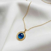 Ghidbk 925 فضة هندسية البيضاوي الأزرق كريستال قلادة القلائد حساسة الملمس جميل الحجر الساحر المختنقون