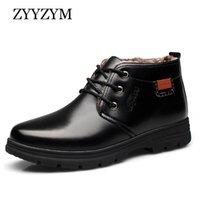Ботинки Zyyzym мужчин снег зима кружев в стиле искусственная кожаная обувь лодыжка плюшевые держать теплый мужчина Zapatos de Hombre