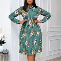 Женщины напечатаны плиссированные платье с длинными рукавами с бабочковым цветочным коленом длиной элегантные офисные дамы классный модный африканский женские повседневные платья