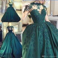 2019 Hunter Green Ball Kleid Abendkleider Satin High Hals Spitze Appliques Perlen Prom Dress Long Plus Size Pageant Party Kleider