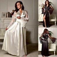 Women Lace Sleepwear Nightgown Satin Silk Robes Long Sleeve ...