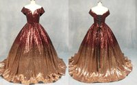 Sparkly Sequined Burgundy To Rose Gold Ombre Prom Evening Dresses Ball Gown V neck Off Shoulder With Sleeves Quinceanera Bridesmaid Pageant Dresess
