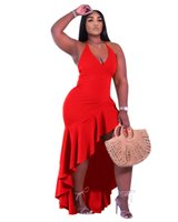 Plus Size Women Dresses Asymmetrical Sleeveless Solid Color Clothing Summer S-2XL V-Neck Party Dress Sexy Clubwear Casual Clothes 4967