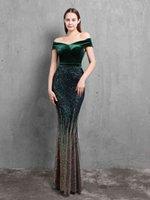 XUCTHHC-vestido de noche con cuello barco, elegante, terciopelo, Patchwork, lentejuelas, ajustado, para fiesta, Formal, sirena,