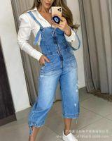 Women's Pants & Capris Ladies Wide Leg Denim Overalls, Fashion Casual Jeans, High Waist Zipper Loose Overalls