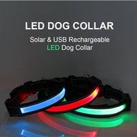 Собаки ошейники поводки преподавателя светодиодный воротник с зарядом солнечного заряда и USB.