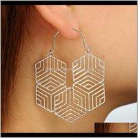 Gota geométrica grande para las mujeres Korean Diseño único Hollow Pendilo Hollow Fashion Gold Silver Party Body Party Jewelry 8O6QD Cuelga Chandelier TTABL