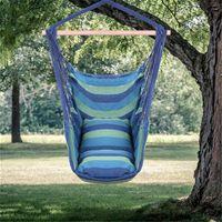 US Stock Amaca di cotone distintivo delle amache della tela della tela della corda appesa con due cuscini Blu Ultra Comfort Bed Eccellente Forza del cuscinetto