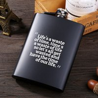 8oz Stainless Steel Hip Flask English Letter Black Personali...