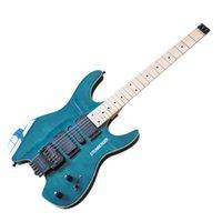 Factory Outlet-Blue Headless Electric Gitarr med Flam Maple Fineer, Maple Fretboard