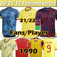 21/22 National Team Soccer Jerseys 팬들 선수 버전 2021 Copa America Retro James L.Muriel Falcao Cuadrado 1990 남자 여성 키트 축구 셔츠 훈련 유니폼