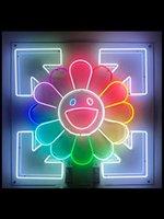 Néon signe le soleil sourire visage néon lumière néon lumières pour la fleur de soleil fleur verre éclairage signe emblématique signe lumière mur