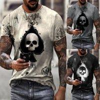 3 색 mens t- 셔츠 카드 인쇄 두개골 티 여름 패션 라운드 목 티셔츠