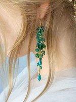 Orecchini da sposa di cristallo di bohe verdi per le donne gioielli partito accessori da ballo da promenade handmade bride bottone ornamento regalo di nozze