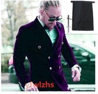 Handsome Velveteen Groomsmen Double-Breasted Groom Tuxedos Men Suits Wedding Prom Man Blazer ( Jacket+Pantst+Tie) Y335