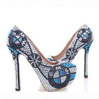 2017 Новый дизайнерские туфли на высоком каблуке ручной работы кристалл платформы насосы серебряный горный хрусталь свадебные туфли свадебные вечеринки