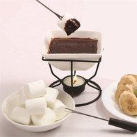 Set de fondue en porcelaine blanche de fusion en céramique en céramique Ensemble de fondue en porcelaine de fer noir Brûleur de refuge de fer et d'outils WMTQXE 2ZDET 2058 V2