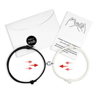 2pcs set Paired Bracelet for Lovers Distance Magnet Couple Stainless Steel Women Men Braided String Charm Jewelry Gift