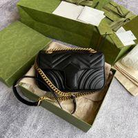 Moda + Caja 446744 Marmont Mujeres Lujos Diseñadores Bolsos Bolsos de cuero real Twist Cosmetic Messenger Compras Bolsa de hombro Totes