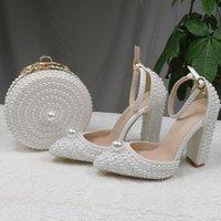 Обувь платье Baoyafang белый жемчуг женщины свадьба и сумки невесты высокие каблуки женская вечеринка женщина сладкие модные насосы