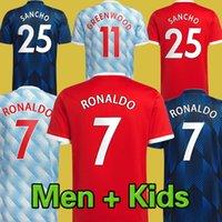 # 7 Ronaldo # 25 Sancho Home Red Soccer Jersey 2021/2022 # 11 Greenwood # 18 B.FeNanDes Away Soccer Shirt 21/22 # 10 Rashford # 6 Pogba 3rd Football Uniform Kit Kit