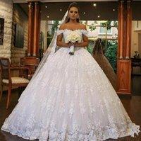 White Lace Ball Gown Dubai Wedding Dresses Sweetheart Off Shoulder Beading Backless Plus Size Saudi