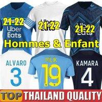Olympique De Marseille Camisetas de futebol 2021 OM Maillot De Foot 20 21 PAYET BENEDETTO SAKAI KAMARA conjunto de camisa de futebol Homens Kit Infantil uniformes