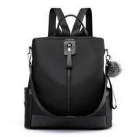Backpack Multifunctional Anti-theft Women's Plush Tassel Contrast Color Teenage Girl Large Capacity Simple Leisure Travel Bag Mo