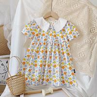 Girls Flower Print Dresses Summer Kids Boutique Clothing Korean 1-6T Children Short Sleeves Cotton Floral Dress