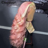 Lace Wigs Transparent Colored Wavy Pink Yellow Front Human Hair For Women Brazilian Remy Red Wig Pre Plucked