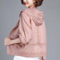 Women's Jackets 2021 Summer Jacket Women Hooded Sun Protection Clothing Fashion Casual Zipper Thin Windbreaker Coat Plus Size M-5XL Q14