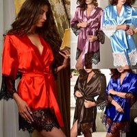 Sexy Lingerie Women Silk Lace Solid Robe Dress Babydoll Nigh...