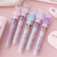 Ballpoint Pens 10 Colors Colorful Refill Pen Quicksand Sequins Cute Butterfly Rollerball Writing Tool School Office Stationery