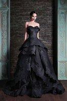 2015 زهير مراد الكرة ثوب أسود فساتين الزفاف القوطية الرباط أثواب الزفاف الحبيب يزين رايات الطابق طول vestidos دي ن