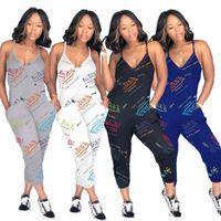 Summer Sexy Women's MustuTuit Fashion Casual Impreso Letter Letters Lettenders Modysuit con bolsillos 2021 Ropa mujer D1266