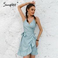 Simplee 2021 Весна Летние Раффлед Ремешок Платье Женщина Зеленый Boho Pailly Dot Pattern Mini Высокий Талийский Праздник для Дамы Повседневные Платья