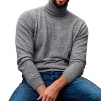 Men's Sweaters Spring Autumn Turtleneck Knitted Solid Top Long Sleeve Casual Men Clothing Knitwear Man Pullovers Male