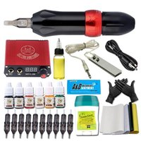 Rotary Tattoo Machine Set Professional Complete Wireless Tatoo Pen Kit Needle Cartridge Ink Power Supply Foot Pedal For Beginner