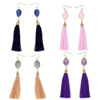 Dangle & Chandelier Labradorite Rose Quartzs Amethysts Drop Earrings Natural Stone Boho Tassel Ear Rings For Women Luxury Jewelry