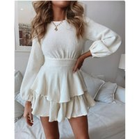 Leosoxs 2021 Spring Summer Fashion Sexy O Neck Women's Mini Dress Causal Empire Solid Long Sleeve Double Ruffle Ladies Casual Dresses