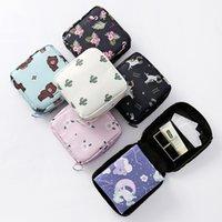 Sacs cosmétiques Sacs de serviettes sanitaires mignonnes Organisateur Hygiène Sac de coton Sac rayé Mini Stockage de voyage