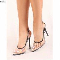 Yifsion جديد أزياء المرأة الصيف مضخات شفافة الخنجر الكعوب مضخات أشار تو الأسود عارية مكتب أحذية النساء الولايات المتحدة الحجم 5-10.5 i6es #