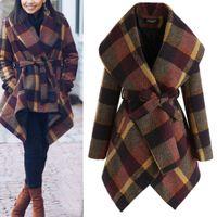 التلبيب الرقبة الصوف معطف للنساء الأزياء منقوشة دافئ سترة معاطف 3 ألوان الشتاء الخريف الصوف معطف زائد الحجم