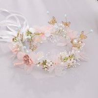 Kinder Schmetterling Perle Spitze Blume Krone Mode Handgemachte Band Lace-up Hochzeit Girlanden Schmucksachen Fotografie Mädchen Haarschmuck A6708